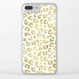 Glam Gold Cheetah Animal Print Clear iPhone Case