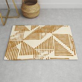 Stripe Triangle Block Print Geometric Pattern in Orange Rug