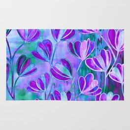 EFFLORESCENCE Lavender Purple Blue Colorful Floral Watercolor Painting Summer Garden Flowers Pattern Rug
