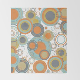 Retro Mid Century Modern Circles Geometric Bubbles Pattern Throw Blanket