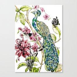 Peacock punk stencilled Canvas Print