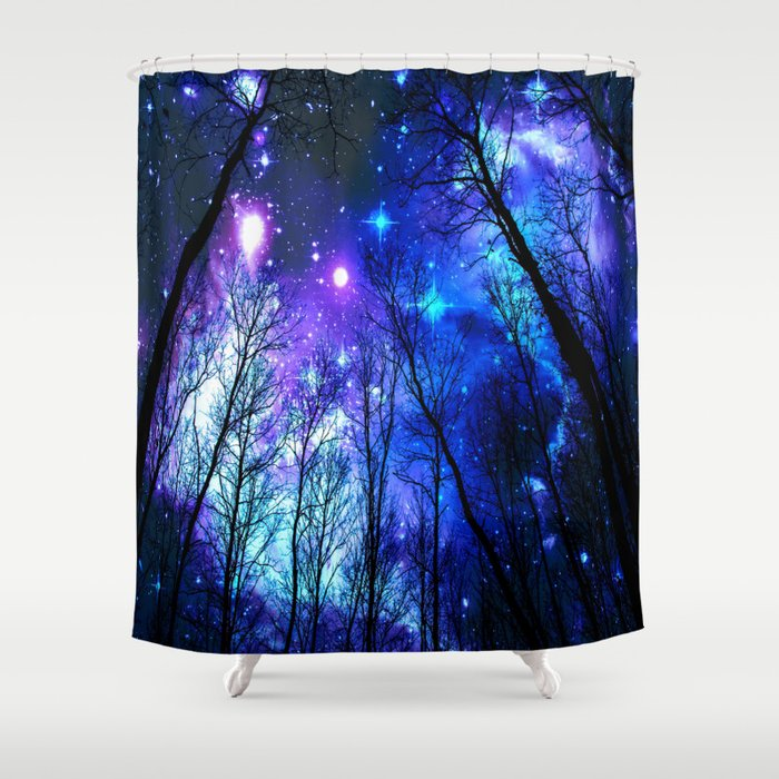 Black Trees Purple Blue Space Shower Curtain