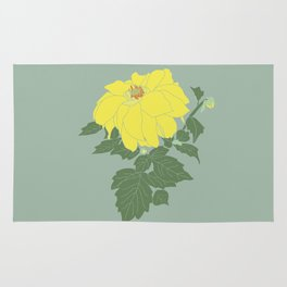 Yellow Dahlia Flower Illustrated Print Rug