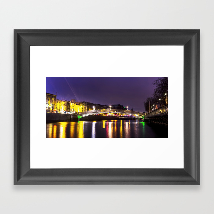 Liffey Bridge Ha'penny Bridge At Night Dublin Irel… Framed Art Print by Alexartphotovideo FRM8634972