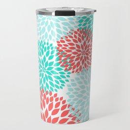 Coral Teal Dahlia Bouquet Travel Mug