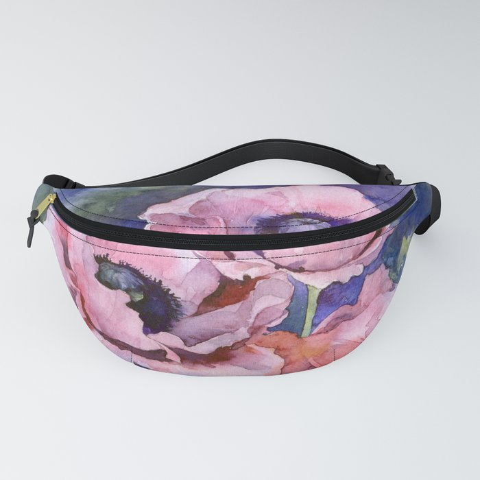 Watercolor Poppies Flowers Art Fanny Pack