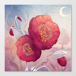 Christmas Roses :: Red Petals, Frosted Leaves Canvas Print