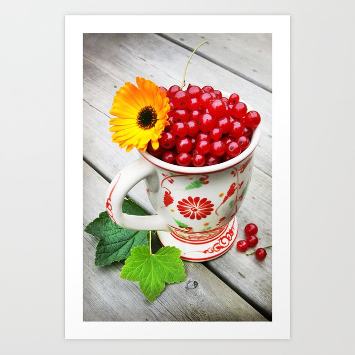 A cup of red currents II Art Print