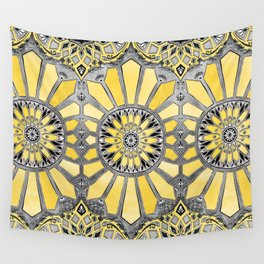 Sunny Yellow Radiant Watercolor Pattern Wall Tapestry