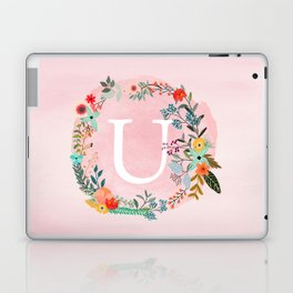 Flower Wreath with Personalized Monogram Initial Letter U on Pink Watercolor Paper Texture Artwork Laptop & iPad Skin