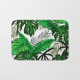 Tropical Jungle Leaf Pattern Green White Bath Mat
