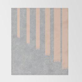 Blush stripes on concrete Throw Blanket