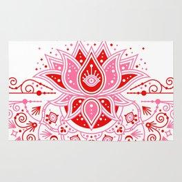 Lotus Blossom Mandala – Red & Pink Palette Rug