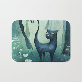 Cat in the forest Bath Mat