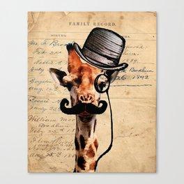 Giraffe Mustache Monocle Tophat Dandy Canvas Print