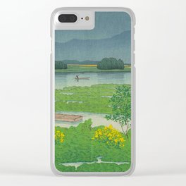 Kawase Hasui Vintage Japanese Woodblock Print Flooded Asian Rice Field Mountain Parallax Landscape Clear iPhone Case