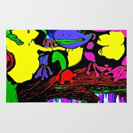 Frog Family and a Rainbow Waterfall Abstract Rug