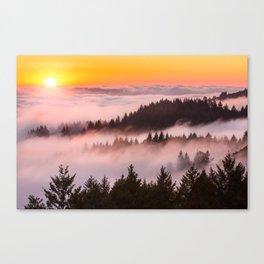Bolinas Ridge Foggy Sunset Canvas Print