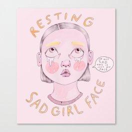 Resting Sad Girl Face Canvas Print