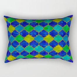 Ocean Breeze -Watercolor Moroccan Lattice Rectangular Pillow