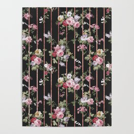 Elegant faux rose gold black stripes vintage blush pink lavender floral Poster