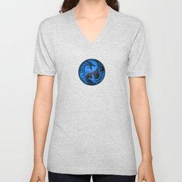 Blue and Black Yin Yang Dragons Unisex V-Neck