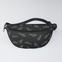 Pizza - white on black - repeating pattern seamless Fanny Pack
