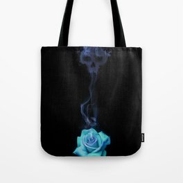 Pale Blue Rose - Smoke skull Tote Bag
