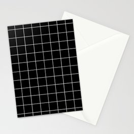 Grid Simple Line Black Minimalistic Stationery Cards