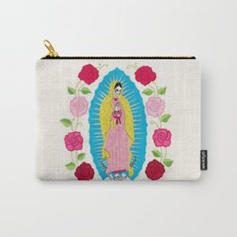 Skull Virgin of Guadalupe_ Hand embroidered Carry-All Pouch