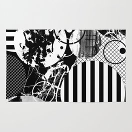 Black And White Choas - Mutli Patterned Multi Textured Abstract Rug