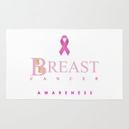 Breast cancer awareness support with text and pink ribbon Rug
