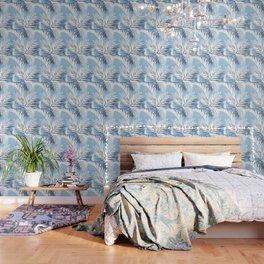 Tropical bliss - chambray blue Wallpaper