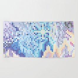 Pixelated Nebula Blue Beach Towel