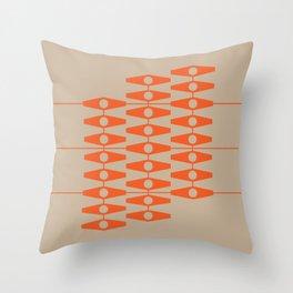 abstract eyes pattern orange tan Throw Pillow