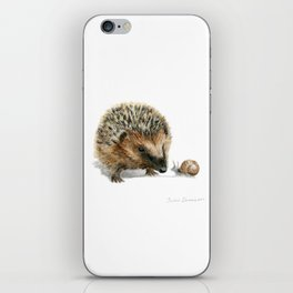 """Close Encounter"" painting of a Hedgehog and Snail by Teresa Thompson iPhone Skin"
