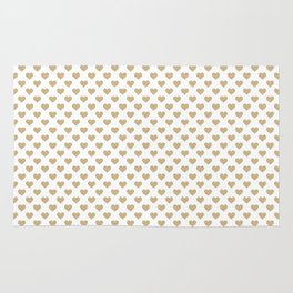 Large Christmas Gold Hearts on Snow White Rug