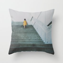 A girl in a yellow dress Throw Pillow