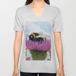 Bumblebee on a Thistle Unisex V-Neck