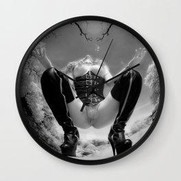 7034-TT Desert Domination BW IR Art Nude In Black Leather Corset Thigh High Boots Wall Clock