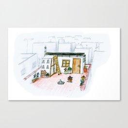The little girl in orange. The  dovecote Canvas Print