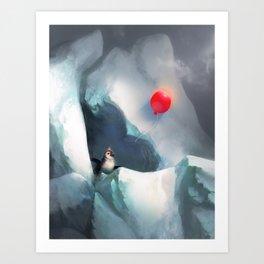 Heart Penguin Art Print