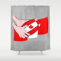 rugby Shower Curtains featuring Canada Rugby Flag by mailboxdisco