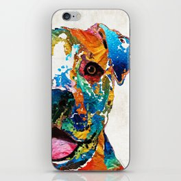 Colorful Dog Pit Bull Art - Happy - By Sharon Cummings iPhone Skin