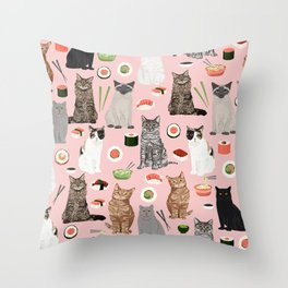 Cat breeds pure bred cats sushi kawaii pet gifts cat person must haves Throw Pillow
