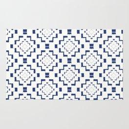 Rough Geometric Aztec Print - Navy Blue Rug