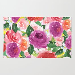 Hand painted pink purple watercolor roses floral Rug
