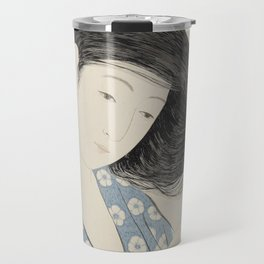 Hashiguchi Goyo: Woman Combing Her Hair Japanese Woodblock Print Blue Floral Kimono Black Hair Travel Mug