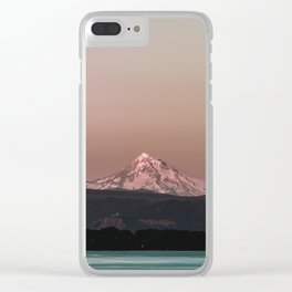 Pastel Peak - Mt. Hood over the Columbia Clear iPhone Case