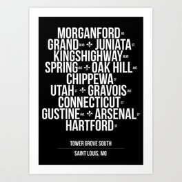 Tower Grove South Streets - white on black Art Print